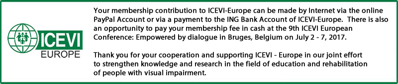 Membership contribution to ICEVI-Europe banner